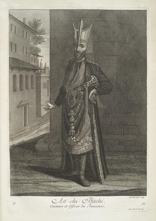 van mour-Ast-chi-bachi, cuisinier et officier des janissaires (1714)Jean-Baptiste van Mour'un (1671 – 1737) altında basılan Osmanlı gravürleri.