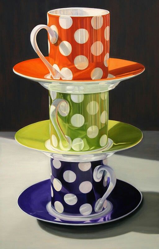 Sada šálků na čaj  * barevný porcelán s puntíky.                                                                                                                                                      More