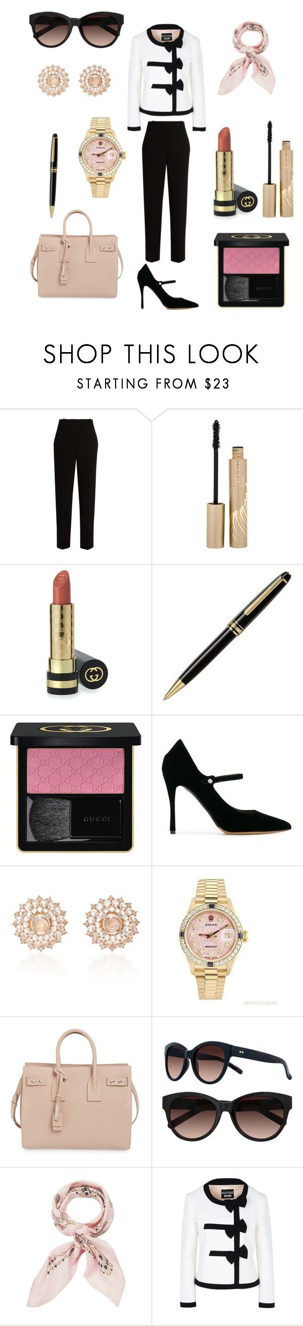 """""""If I was a Rich Girl..."""" by giachrysa ❤ liked on Polyvore featuring The Row, Stila, Gucci, Montblanc, Tabitha Simmons, Nam Cho, Rolex, Yves Saint Laurent, LC Lauren Conrad and Manipuri"""