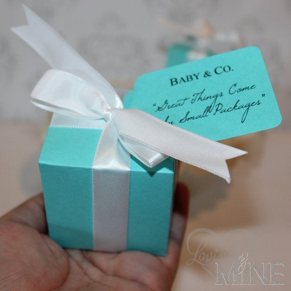 Favors - Tiffany & Co. Inspired Baby Shower Box Favors  - Baby and Co - 10 Boxes  - Tiffany Blue and White on Etsy, $15.00