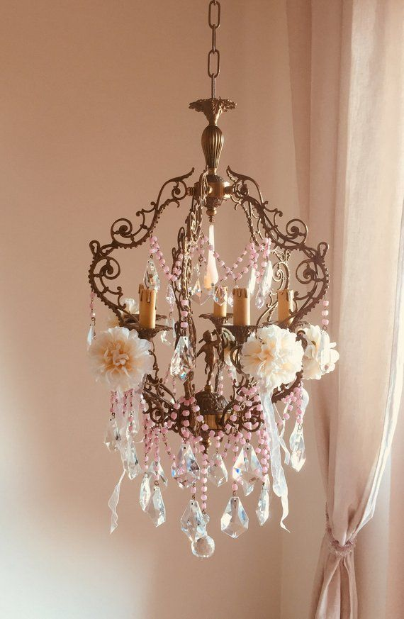 Rare Antique Italian Pink Opaline Glass Chandelier Murano Glass