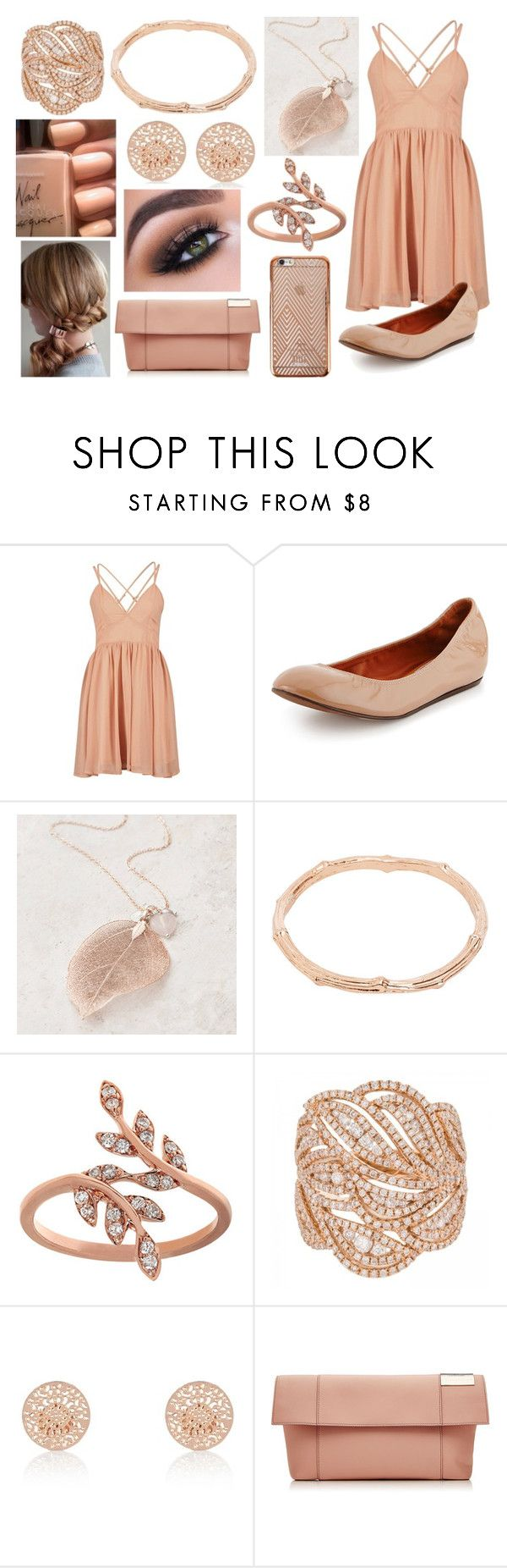 """""""Dress Outfit 65"""" by meranda-joi ❤ liked on Polyvore featuring Lanvin, River Island, Victoria Beckham, outfit, peach, dress, nude and rosegold"""