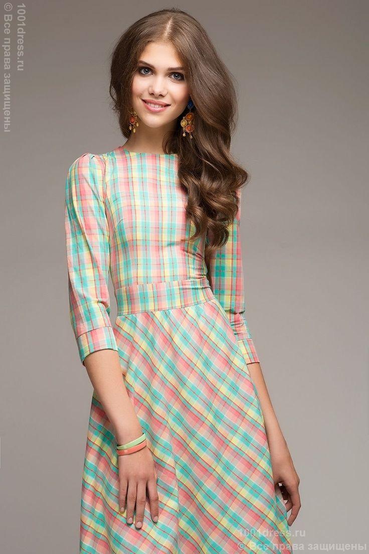 Платье длины макси мятное в клетку с длинным рукавом DM00266MC , зеленый в интернет магазине Платья для самых красивых 1001dress.Ru