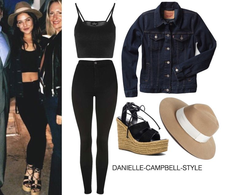 Danielle Campbell || Twitter Post Scoop Ribbed Crop Cami ($10) (?) MOTO Black Joni Jeans ($65) (?) BOYFRIEND TRUCKER JACKET ($85) R&B 'Range' Wool Fedora ($135) Saint Laurent Platform Lace Up Suede Espadrilles in Black ($322)