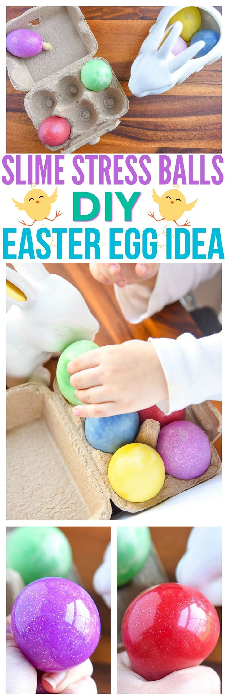 stress balls diy slime recipe without borax easy slime recipe for kids easter egg ideas easter crafts for toddlers easy diy slime recipe fun crafts for kids via @CourtneysSweets