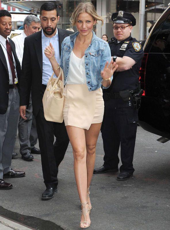 Denim Jacket | White Top | Beige Skirt || Cameron Diaz