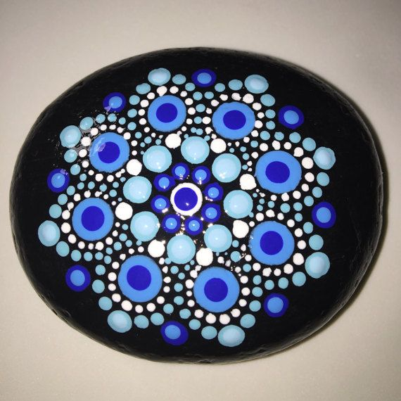 Hand Painted Mandala Stone Mandala Meditation Stone by MafaStones...beautiful blues!