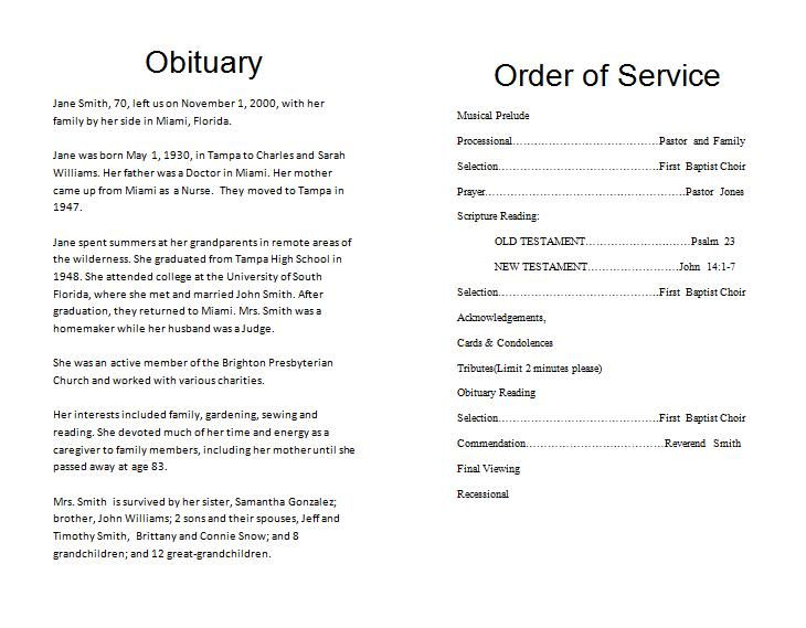 Funeral Program Example Single Fold FuneralMemorial Program