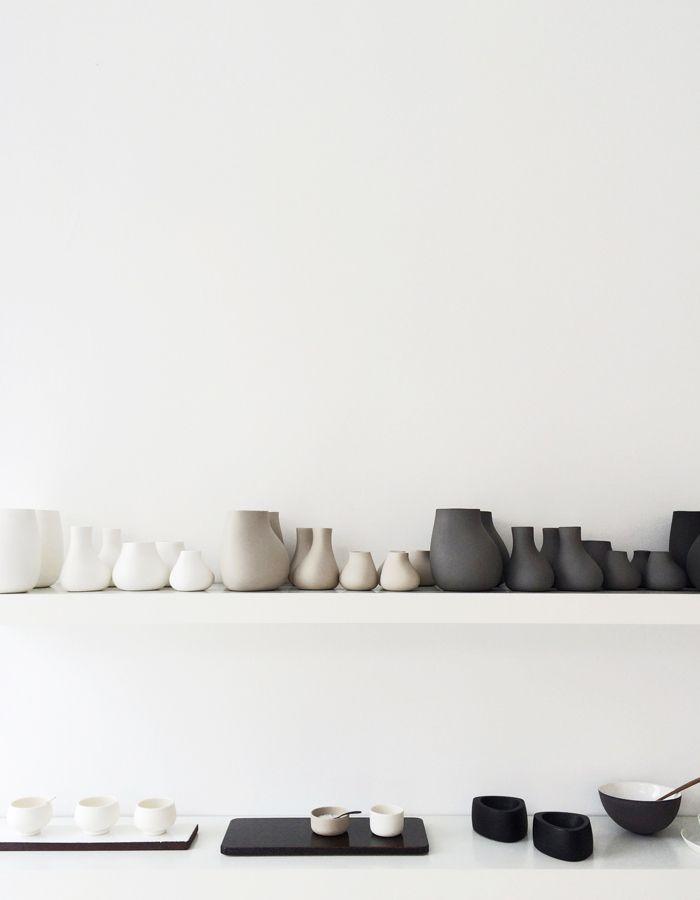 Netural display of simple ceramics by Annemette Kissow via Far And Close http://farandclose.com/keramik-og-glasvaerkstedet/