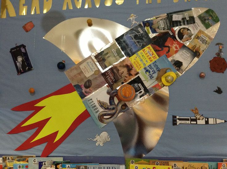 Menai library Book Week 2013 rocket: 'Read across the Universe' display. Australia.