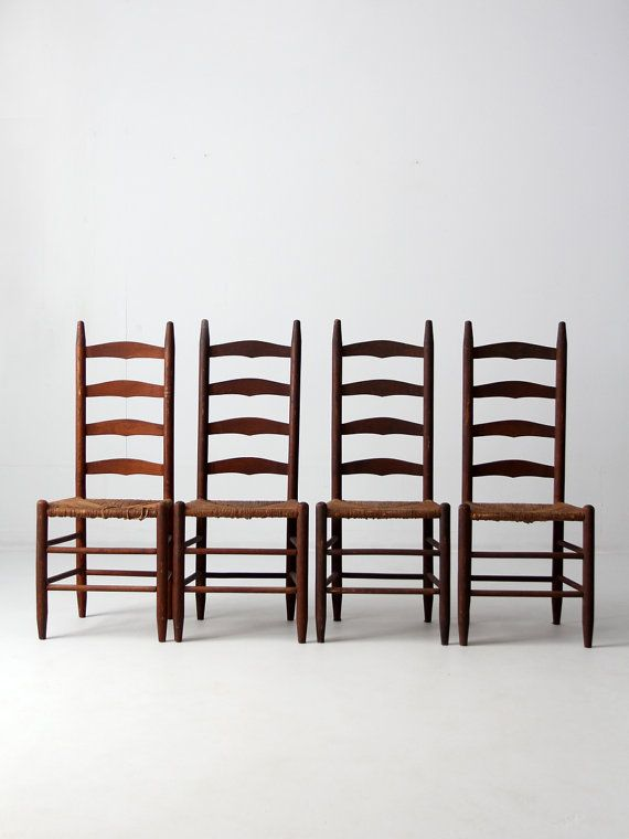 FREE SHIP antique ladder back chairs with rush seat set by 86home