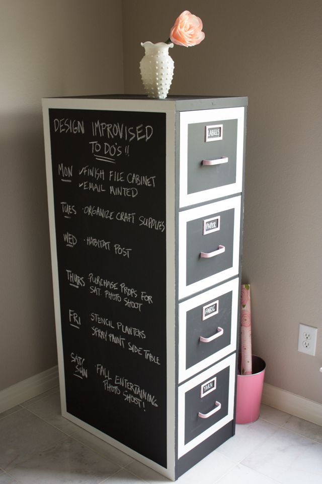 Transform an old file cabinet into chic craft supply storage with built-in calendar thanks to chalkboard paint!