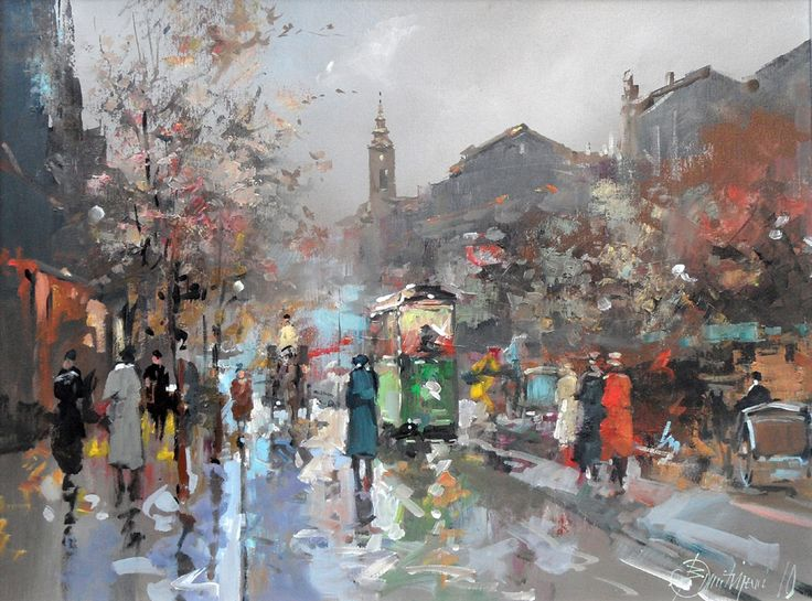 Branko Dimitrijevic, Boulevard, Oil on canvas, 45x60cm