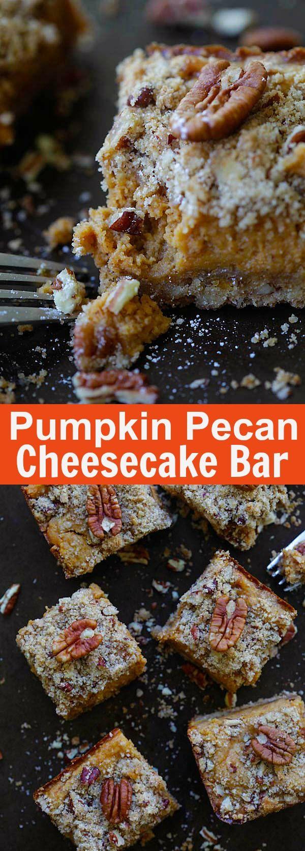 Pumpkin Pecan Cheesecake Bar – best cheesecake bar recipe ever with pumpkin and pecan. Creamy, sweet and perfect for holidays | rasamalaysia.com