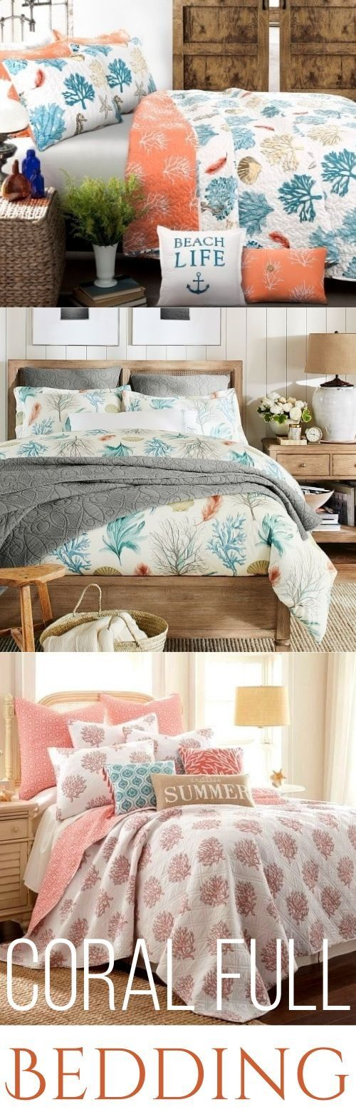 The Most Beautiful Coral Bedding & Designer Bedrooms Inspired by Ocean Coral Reefs and Ocean Creatures. Featured on Completely Coastal: http://www.completely-coastal.com/2018/03/summery-coral-reef-print-bedding-ideas.html Give your Bedroom a Summer Feel!