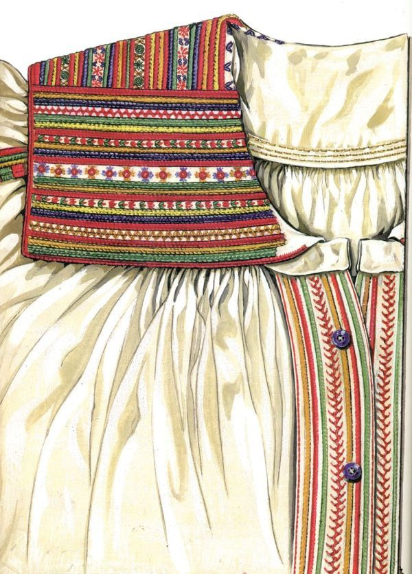 Embroidered blouse from Krzczonów, region of Lublin, eastern Poland. Drawing by J.Turska, via patternsofeurope.pl.