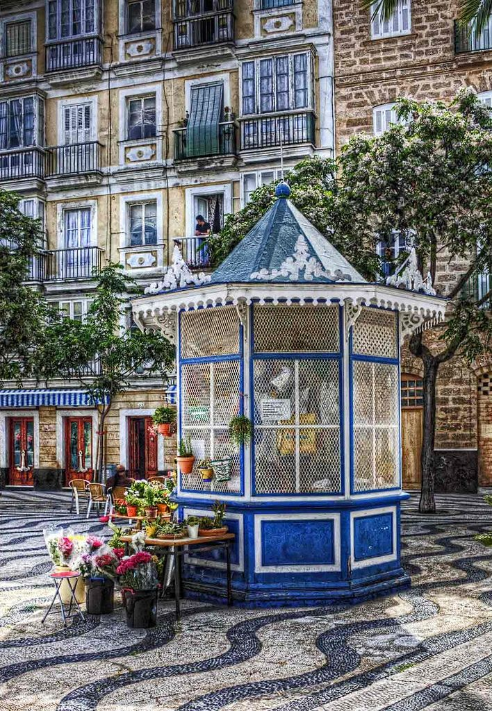 Flower Kiosk in the square in Cadiz, Spain