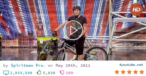 Joe Oakley on Britain's Got Talent 2011 Week 7 (10.5 MB) - Video Download   Download From Youtube - Joe Oakley auditioning on Britain's Got Talent 2011 with some impressive bike stunts. - download and convert youtube video to mp3