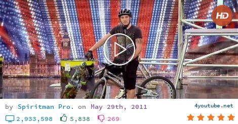 Joe Oakley on Britain's Got Talent 2011 Week 7 (10.5 MB) - Video Download | Download From Youtube - Joe Oakley auditioning on Britain's Got Talent 2011 with some impressive bike stunts. - download and convert youtube video to mp3