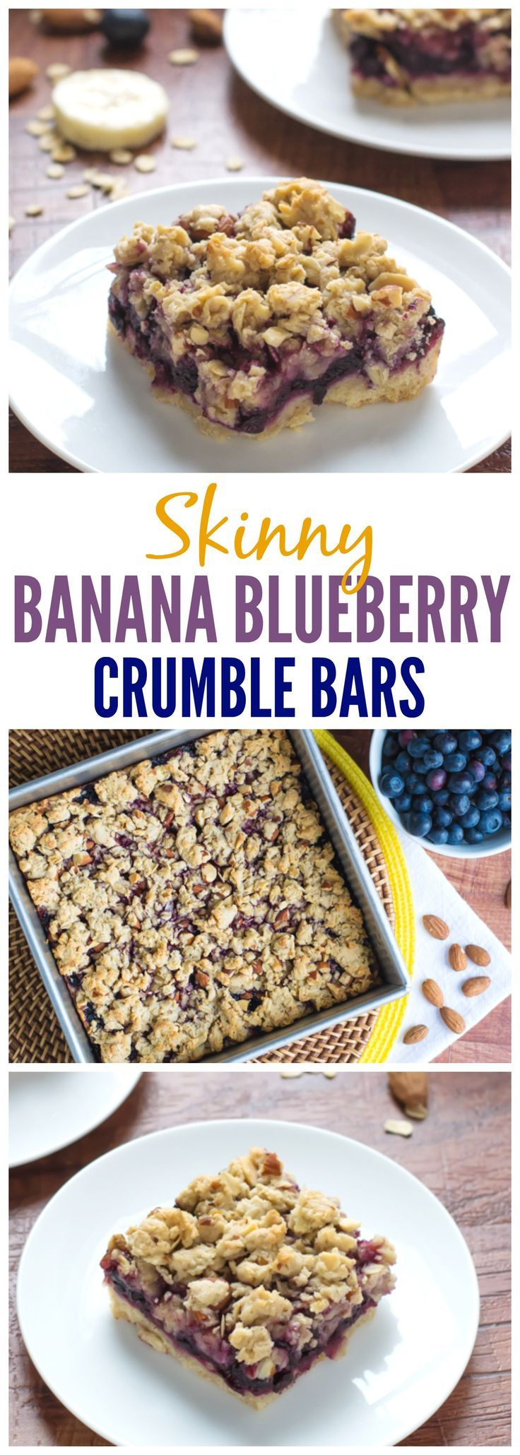 Skinny Banana Blueberry Oatmeal Crumble Bars - Fast, easy, blueberry bars that great for breakfast, snacks, or a healthy dessert! Recipe at wellplated.com @Well Plated