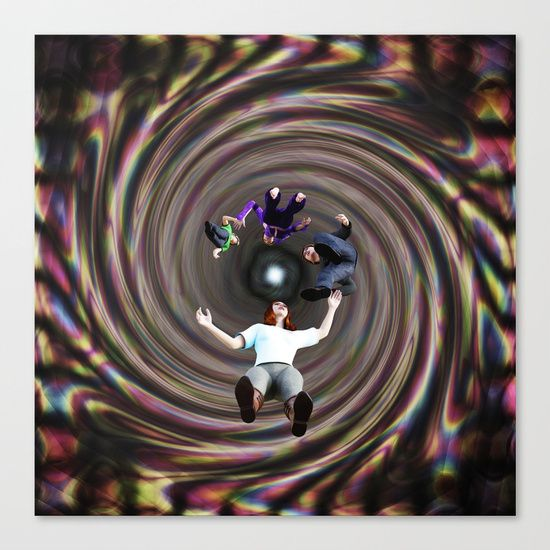 """Through the Wormhole Toward the Light Canvas Print by Terrella.  Fine art print on bright white, fine poly-cotton blend, matte canvas using latest generation Epson archival inks. Individually trimmed and hand stretched museum wrap over 1-1/2"""" deep wood stretcher bars. Includes wall hanging hardware."""