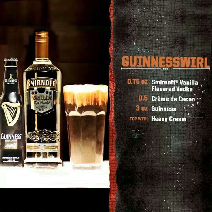 Guinness swirl: Ice, vanilla vodka, creme de cacao, Guinness draught, Topped off with heavy cream