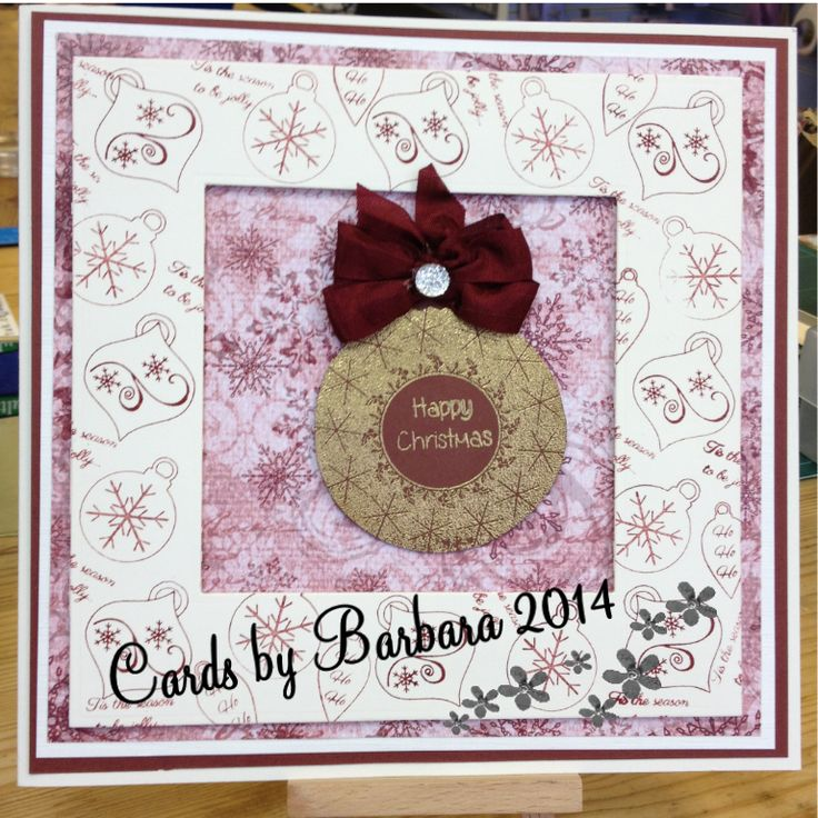 For this card I used Phills Christmas background paper. The border was made using Christmas Collection stamps.The centre bauble was stamped and then heat embossed, finished with a matching bow made from seam binding and added a dazzler