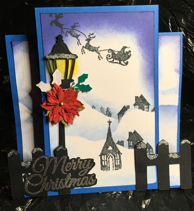 Centre step card, went with blue this time. I used a street lamp die and small fabric poinsettia flower