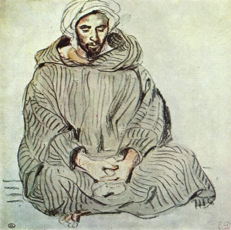 Eugene Delacroix ~ Seated Arab in Tangier, 1832 (pencil, chalk, ink)
