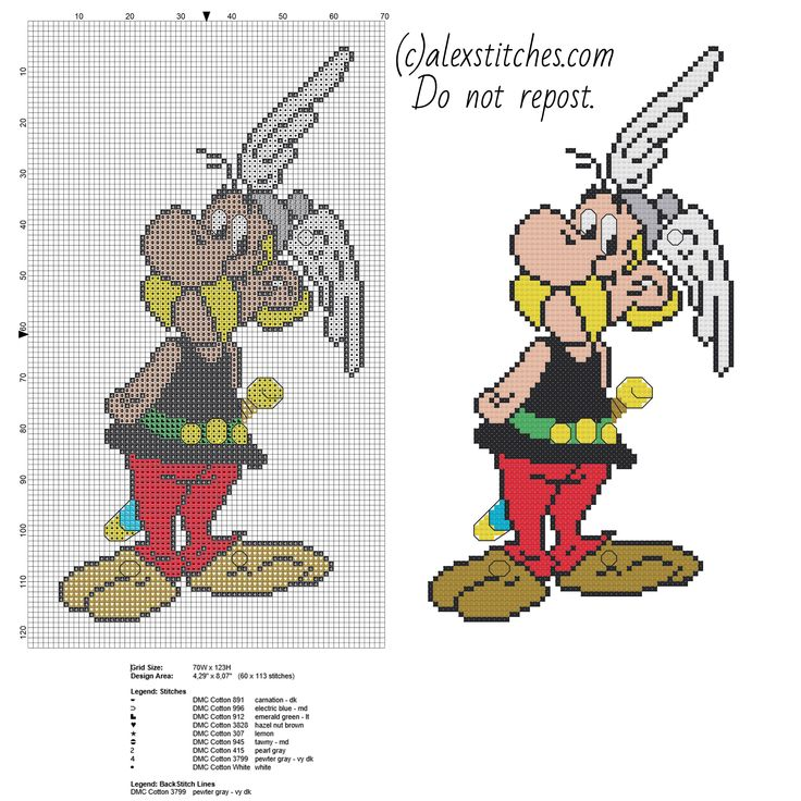 Asterix cartoon free cross stitch pattern download