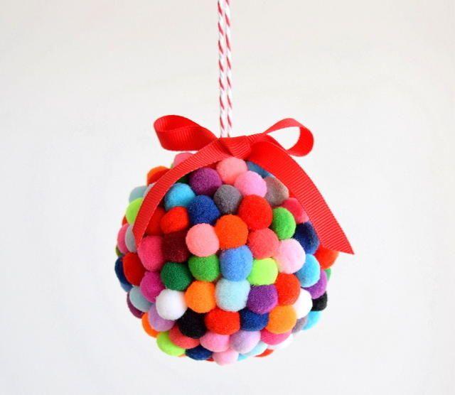 21 DIY Styrofoam Ball Christmas Ornaments — diy pom-pom ornament