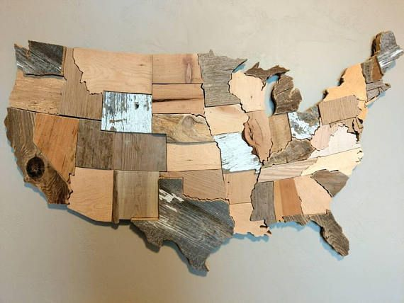 Contiguous Usa Map Reclaimed Wood Wall Art State Art United Cabin