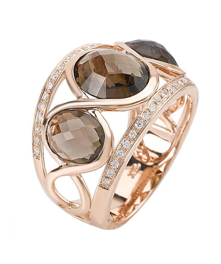 14KP DIA and SMOKY QUARTZ RING D.17CTW, 1-10X8OV, 2-8X6OV - Fashion Ring - Rings - Jewellery & Gifts