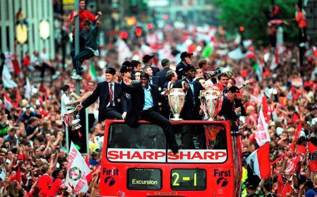 The 1999 treble-winners.