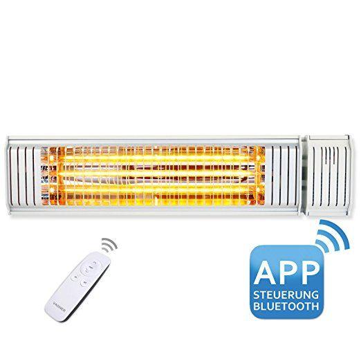 VASNER Infrarot-Heizstrahler Appino 20 weiß, App Steuerung, Fernbedienung, 2000 Watt, Terrassenstrahler-elektrisch, Infrarotstrahler