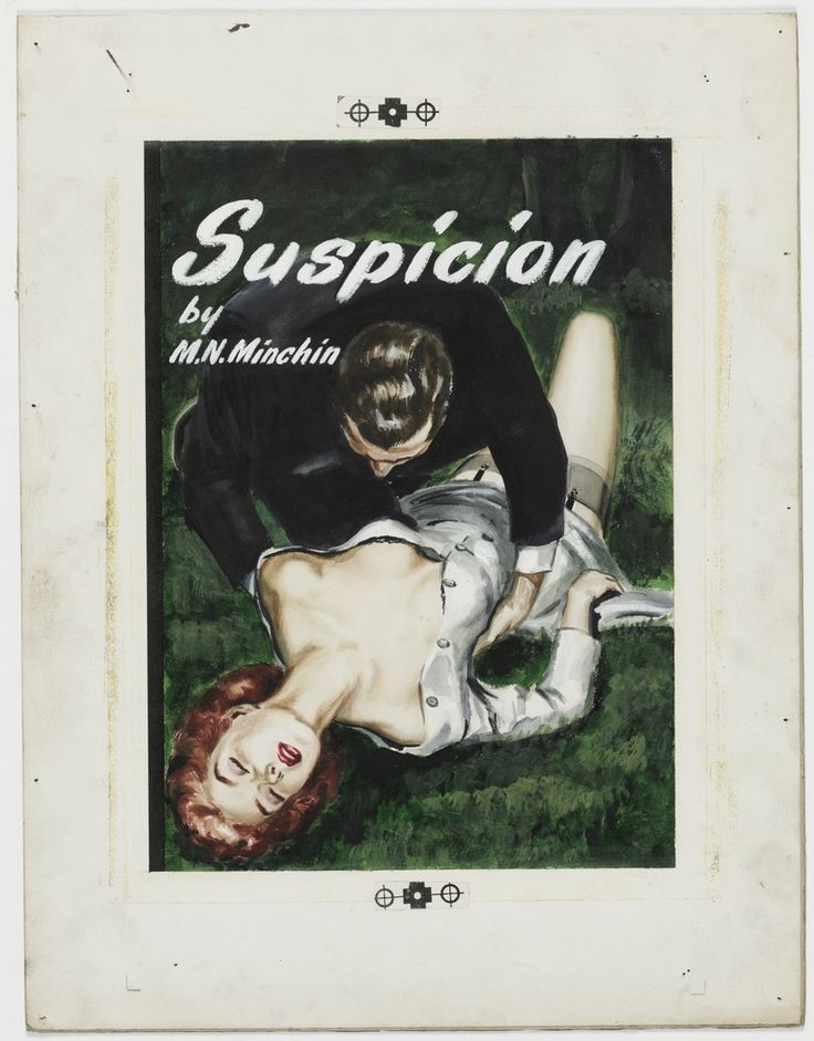 "'Suspicion', ca.1946, cover illustration for crime story ""pulp"" published by Frank C. Johnson, Sydney."
