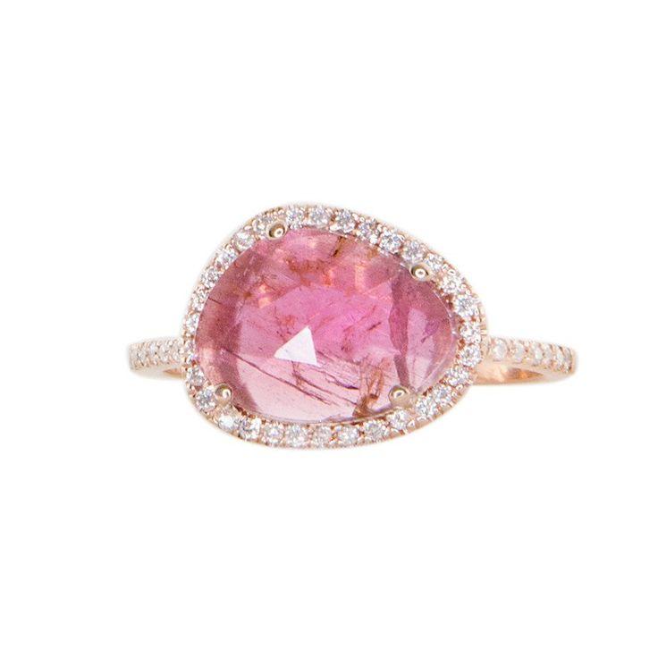 14kt gold and diamond single band pink tourmaline ring – Luna Skye by Samantha Conn