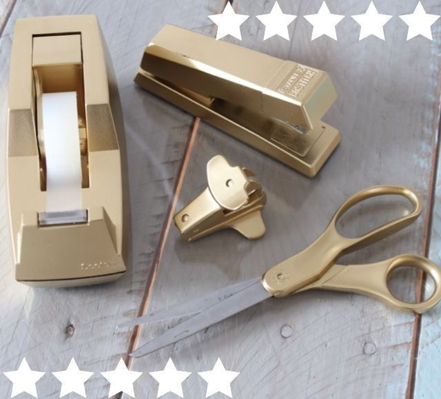 Target Knockoff Gold Desk Accessories - Knockoff DIY - DIY - Tutorial - Gold Decor. http://www.simplestylings.com