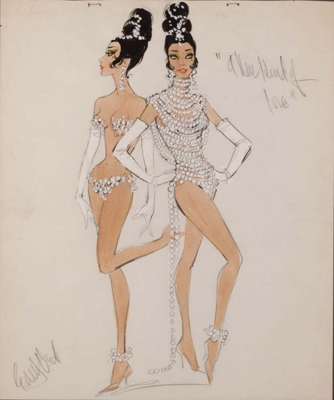 Edith Head signed costume sketch of showgirls for A New Kind of Love. (Paramount, 1963) Original costume design sketch by Edith Head  in pencil, tempera & gouache (probably NOT drawn by Edith but by one of her assistants as most of her finished drawings were)