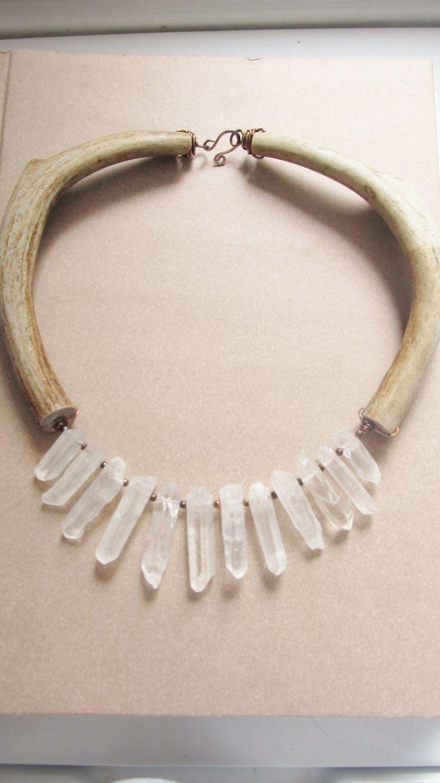 Antler Bib Necklace Rustic Jewelry Quartz Crystal Point Statement Necklace DanielleRoseBean Rustic Bib Necklace. $198.00, via Etsy.