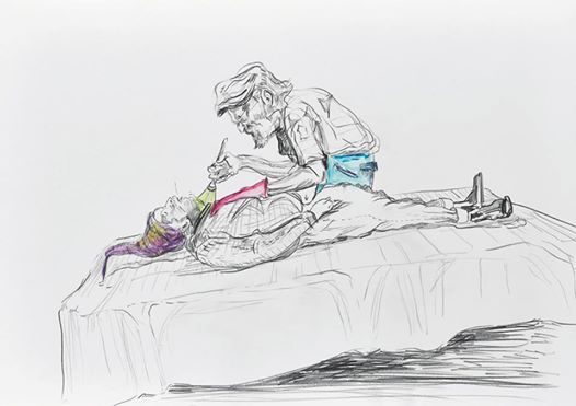 Sneak peek_03 Wolfgang Neumann, 2014 Bleistift und Aquarellstift auf Papier Pencil and watercolor pencil on paper, 35 x 25 cm In: Aras Ören, Kopfstand, Seite 24_25 / page 24_25