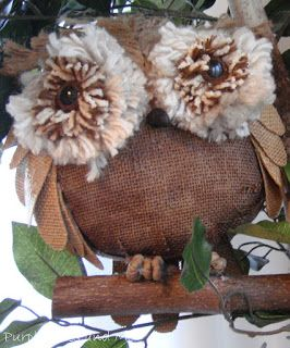Tutorial on creating paper mache Owls.  By .. Purple Hues and Me: Burlap Owls