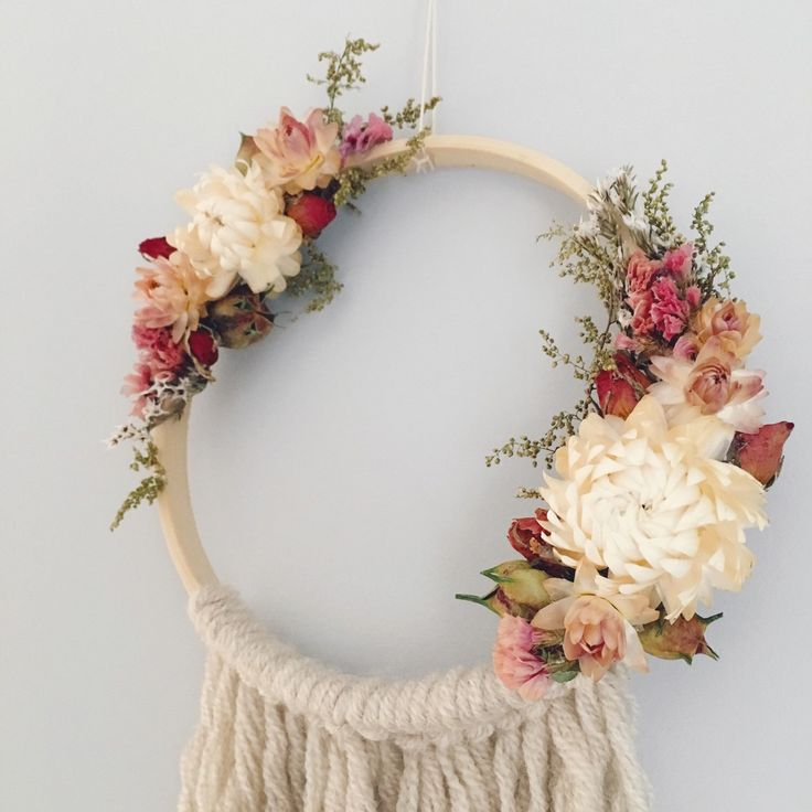 Bohemian floral dreamcatcher // boho dreamcatcher // floral wall hanging // by MeadowandMoss on Etsy https://www.etsy.com/listing/266838440/bohemian-floral-dreamcatcher-boho