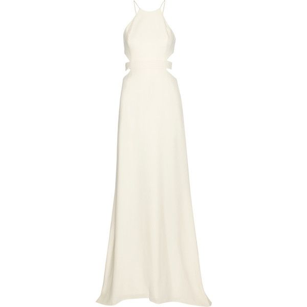 Halston Heritage Cutout crepe gown ($735) via Polyvore featuring dresses, gowns, white formal evening gowns, halter top, halter gown, white gown and white dress