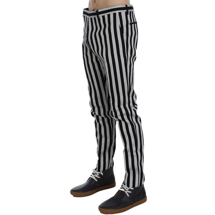 Dolce & Gabbana Black White Striped Denim Stretch Jeans