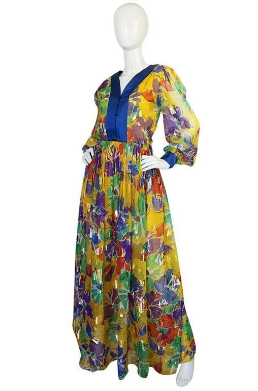 1970s Givenchy Metallic Hearts & Flowers Print Silk Dress