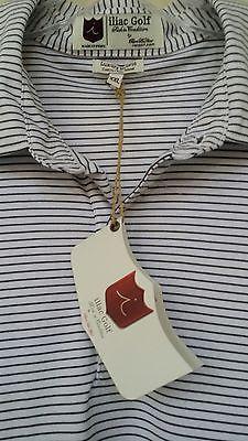 Iliac Golf Mens XXL Luxury Polo Golf Shirt Cotton-Poly Hybrid White Striped NWT