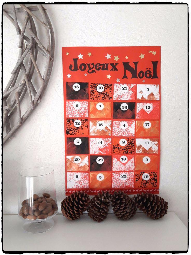 calendrier de l'avent, calendrier avec enveloppes, bricolage de noel, enfant