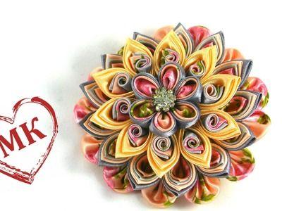 Цветы из ткани: мастер класс. Многослойный цветок канзаши.
