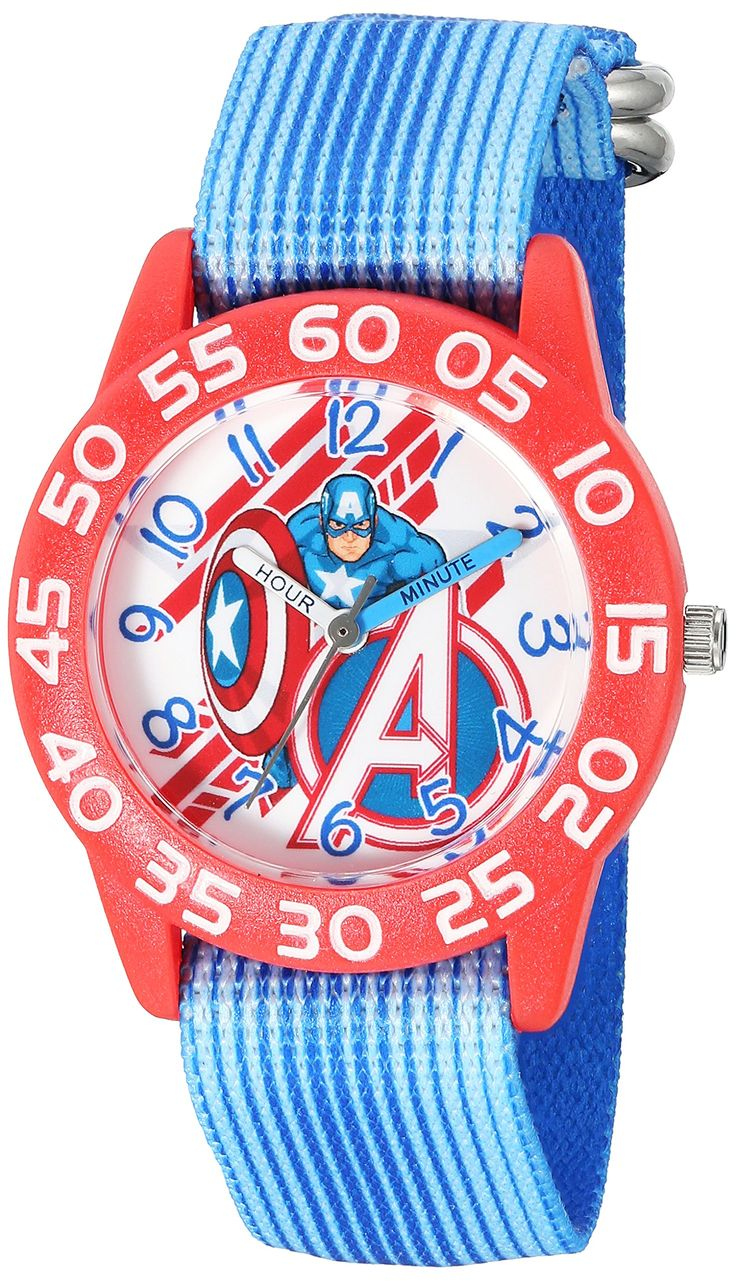 Marvel Boy's 'Captain America' Quartz Plastic and Nylon Automatic Watch, Color:Blue (Model: W003223). Meets or exceeds all US Government requirements and regulations for Kid's watches. 1 year limited manufacturer's warranty. Analog-quartz Movement. Case Diameter: 32mm. Water Resistant To 30m (100ft): In General, Withstands Splashes or Brief Immersion In Water, but not Suitable for Swimming or Bathing.